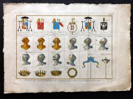 Diderot C1790 Folio Hand Col Heradly Print 14 Helmets, Crowns